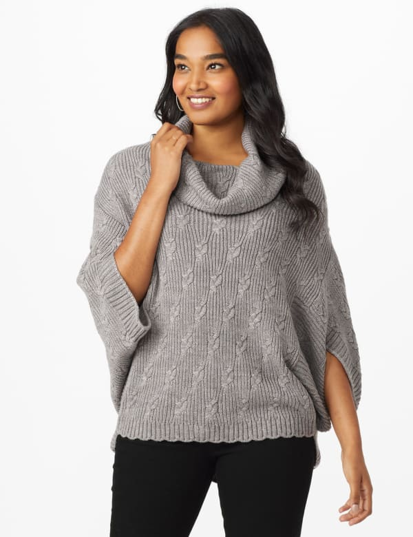 Westport Novelty Stitch Poncho Sweater -Flannel - Front