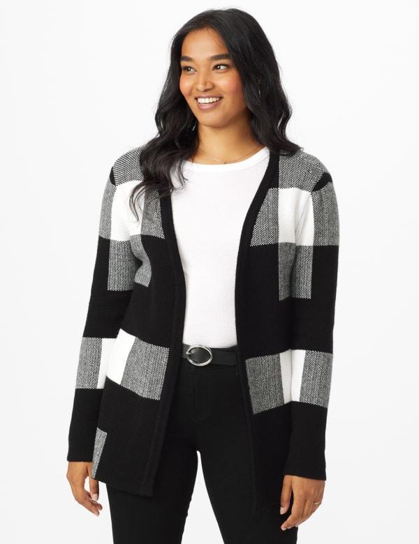 Roz & Ali Plaid Jacquard Sweater Cardigan - Black/White - Front