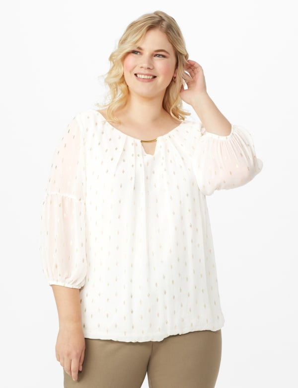 Roz & Ali Ivory Gold Foil Bubble Hem Blouse - Plus - Off white/Gold - Front