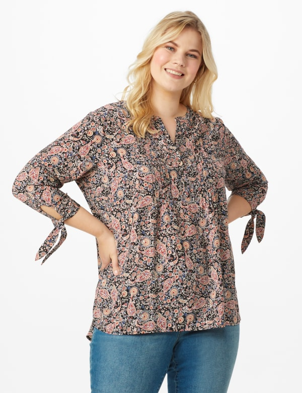 Dressbarn Paisley Woven Pintuck Popover - Black - Front
