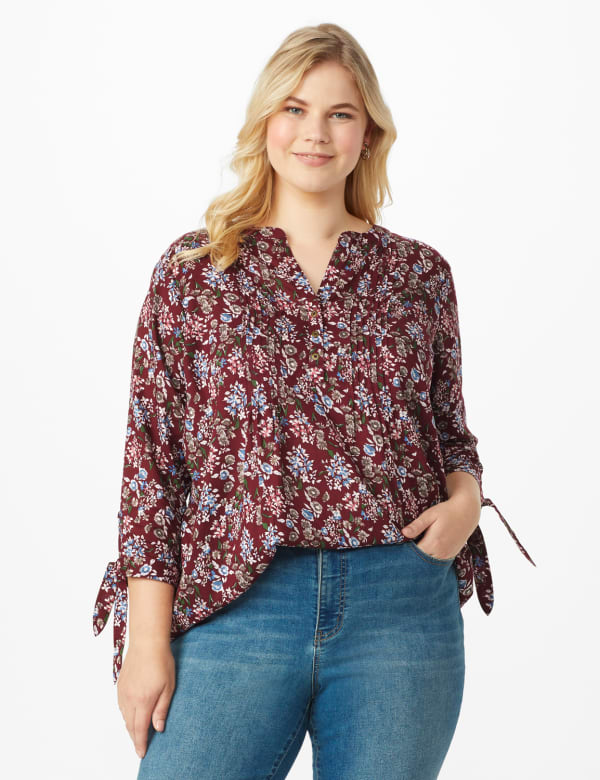 Westport Multi Color Floral Pintuck Popover  - Plus - Burgundy - Front