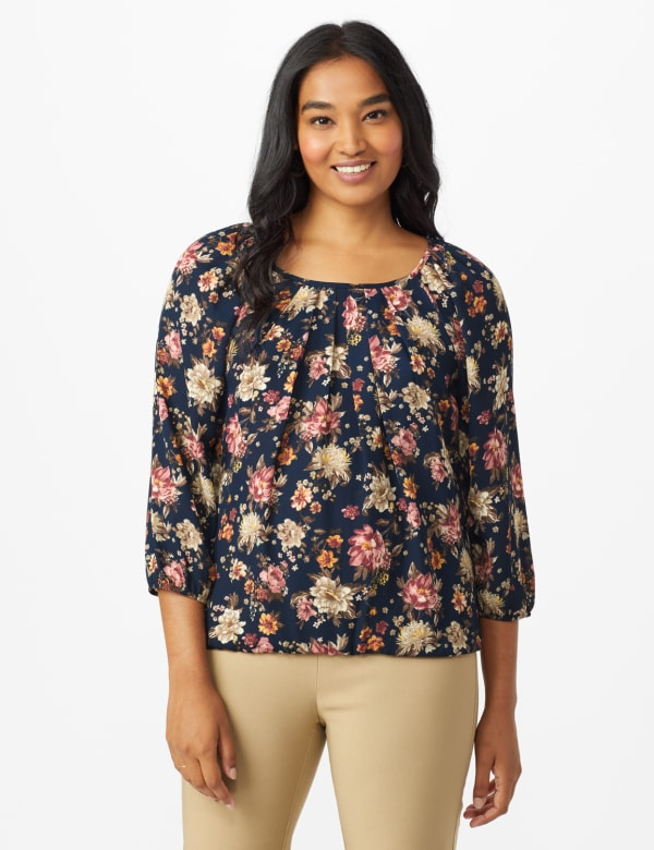 Roz & Ali Navy Floral Bubble Hem Blouse - Navy/Rose - Front