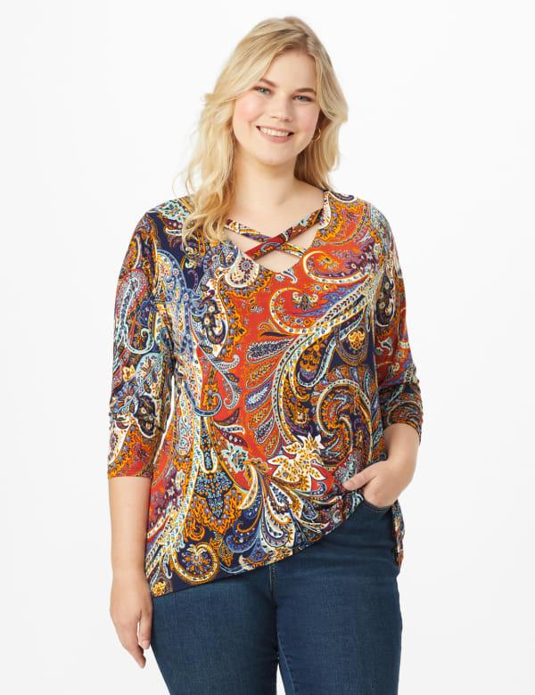 Westport Paisley Knit Top - Plus