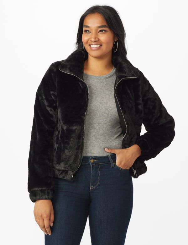 Faux Fur Zip Up Bomber Jacket - Black - Front