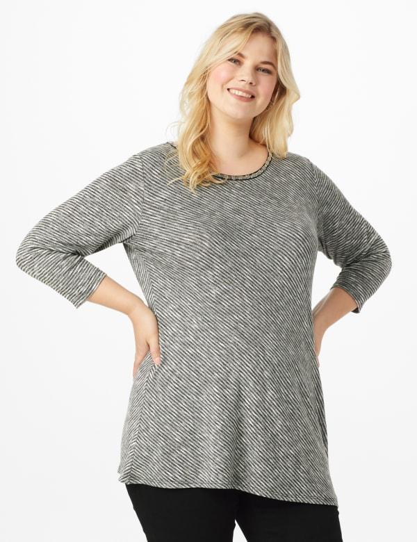 Westport Embellished Knit Tunic - Grey/Black - Front