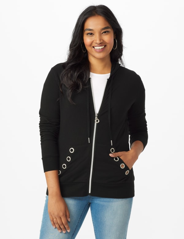 DB Sunday Grommet Zip Front Knit Cardigan - Black - Front