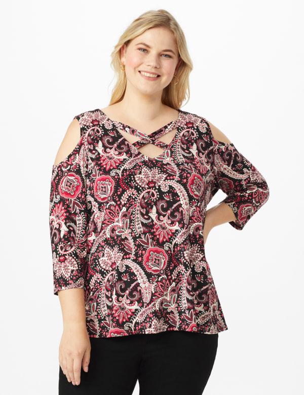 Westport Bohemian Print Cold Shoulder Knit Top - Plus - Burgundy/Pink - Front