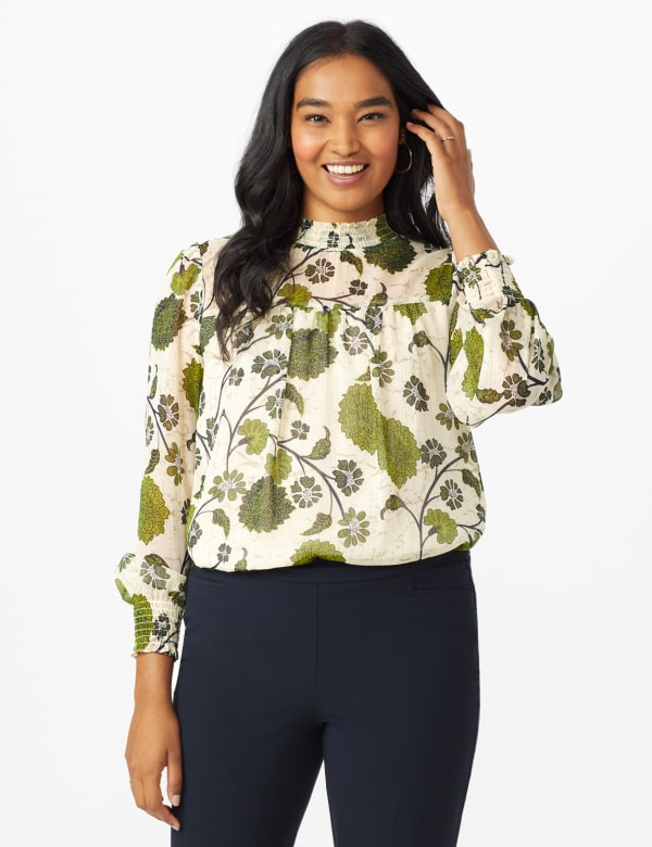 Floral Printed Blouse With Lurex - White Swan/Navy - Front