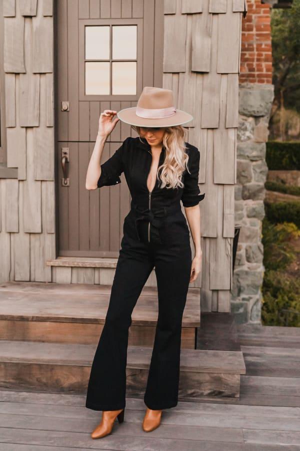 Jenna Denim long sleeve Jumpsuit - Plus - Black - Front