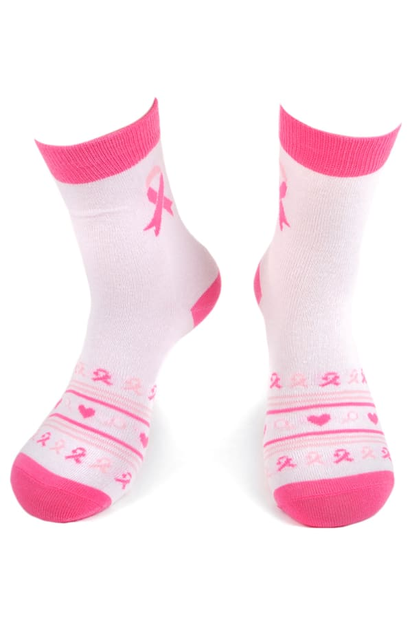 Breast Cancer Awareness Heart Socks - Pink - Front