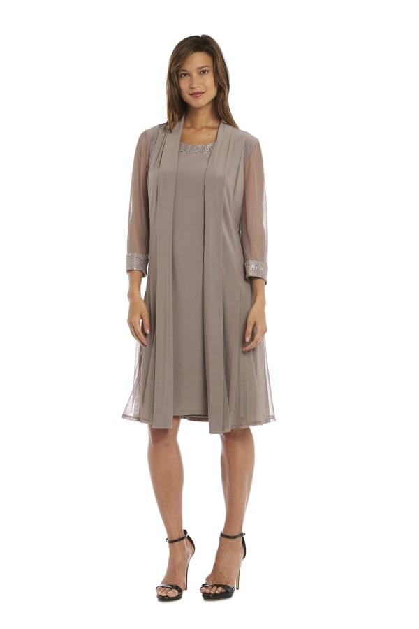 Embellished Shift Dress with Sheer Jacket - Taupe - Front