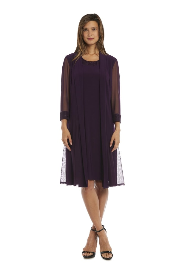 Embellished Shift Dress with Sheer Jacket - Plum - Front