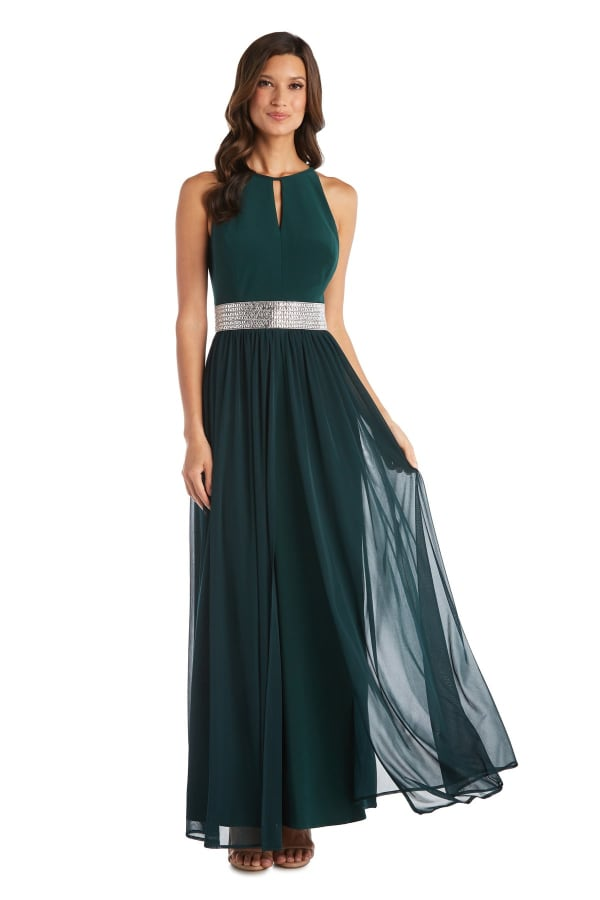 Maxi Dress with Keyhole Cutout, Halterneck and Flowing Skirt - Hunter - Front