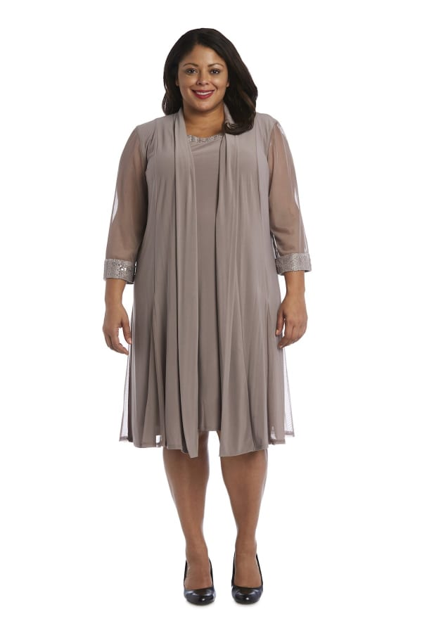Embellished Shift Dress with Sheer Jacket - Plus - Taupe - Front