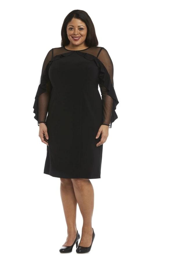 Illusion Sleeve Dress-Plus