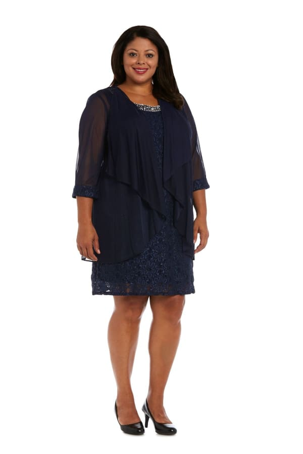 Beaded Lace Neckline with Cascade Jacket - Plus - Navy - Front