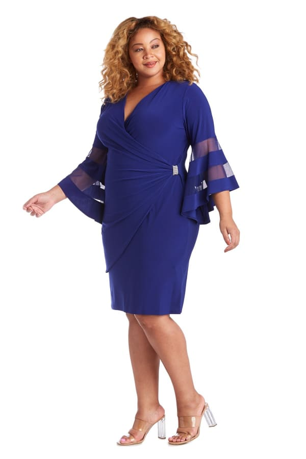 Illusion Bell Sleeve Dress with Rush Rhinestone Detail at Waist - Plus - Electric Blue - Front