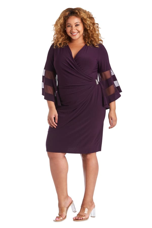 Illusion Bell Sleeve Dress with Rush Rhinestone Detail at Waist - Plus - Plum - Front