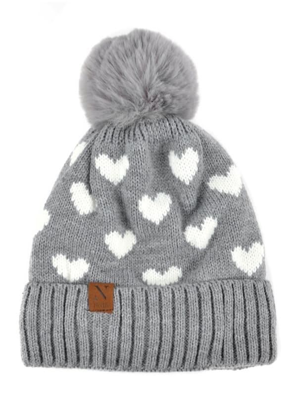 Hearts & Pom Pom Winter Hat - Grey - Front