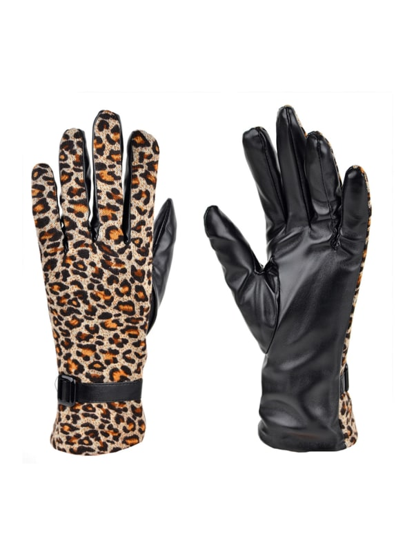 Leopard Print Faux Leather Touch Screen Gloves - Leopard - Front