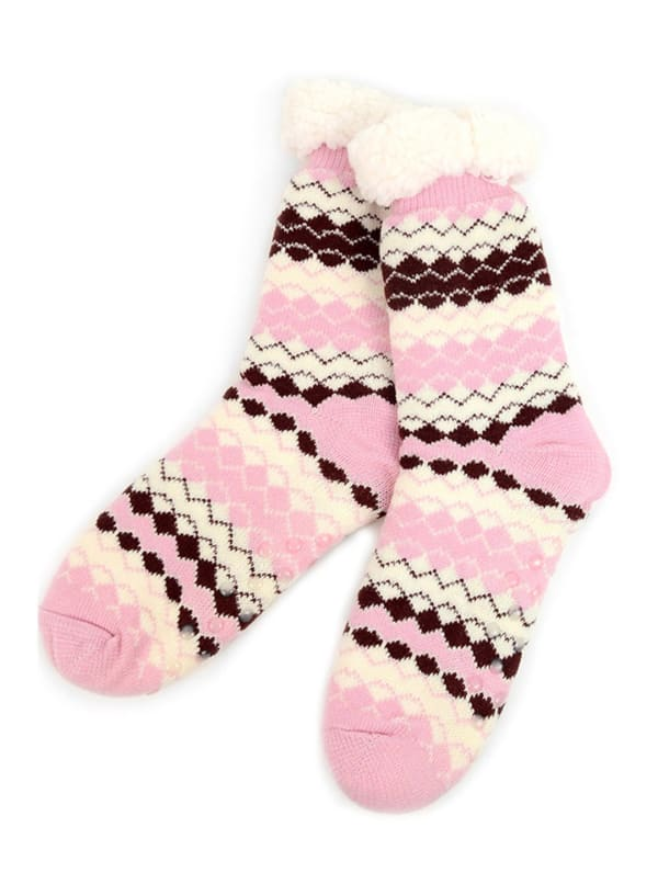 Fair Isle Sherpa Lined Slipper Socks - Pink - Front