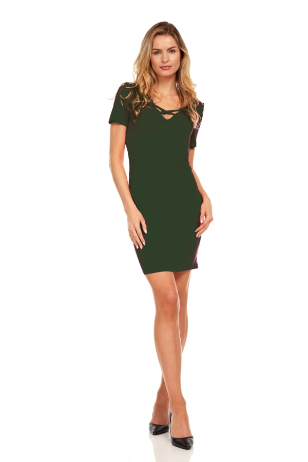 Ruched Side Midi Dress With Criss-Cross Detail - Olive - Front