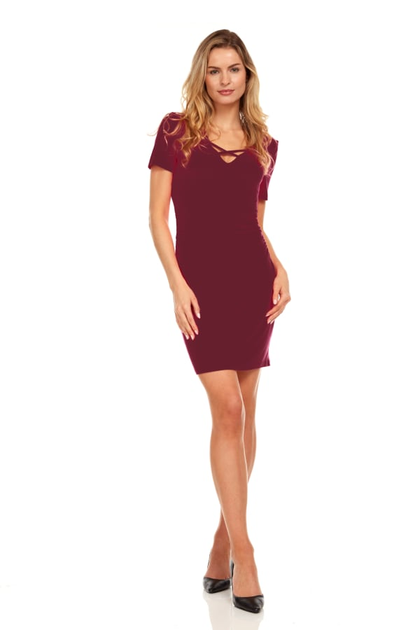 Ruched Side Midi Dress With Criss-Cross Detail - Wine - Front