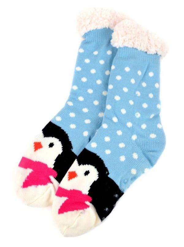 Penguin Sherpa Lined Slipper Socks - Blue - Front