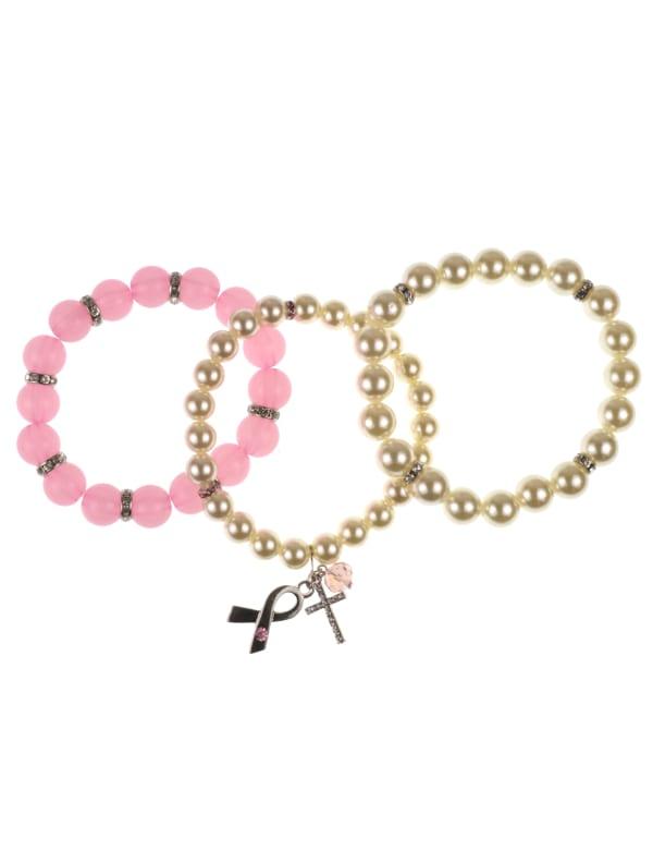 3 pc Breast Cancer Awareness Multi Bracelet Set - Pink / Pearl - Front
