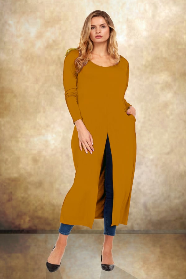 Front Slit Long Sleeve Shirt With Pockets - Plus - Mustard - Front