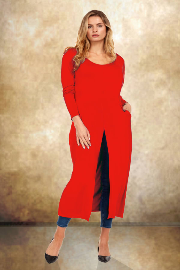 Front Slit Long Sleeve Shirt With Pockets - Plus -Red - Front