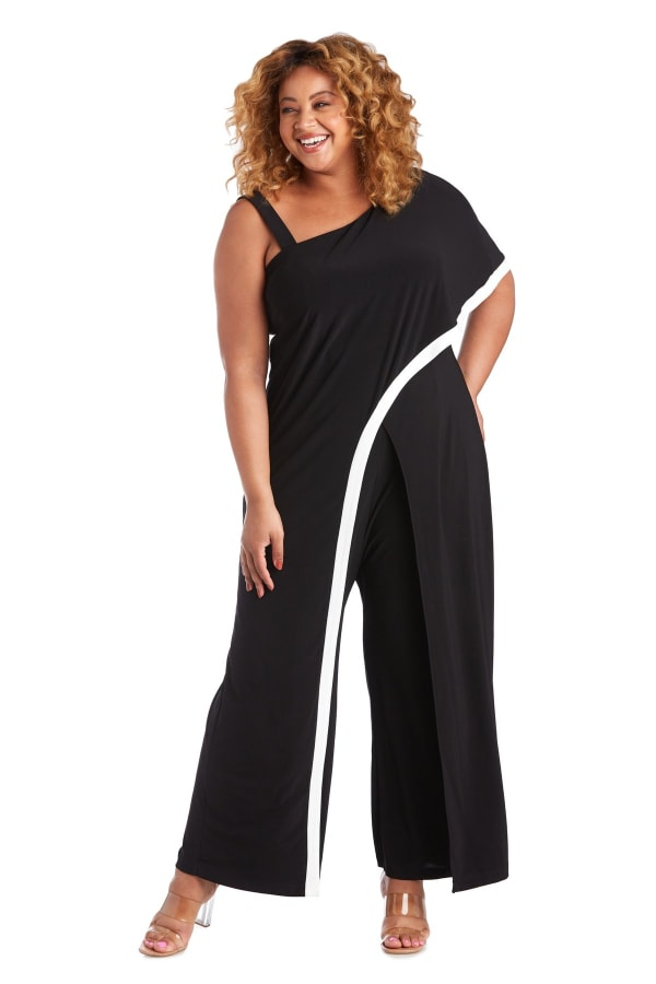 One Shoulder Drape Panel Jumpsuit With Contrast Detail - Plus