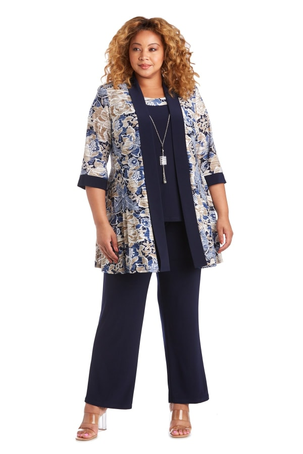 Two Piece Mock Puff Print Tear Knit Pant Set - Plus - Navy / Taupe - Front