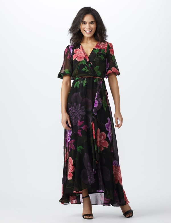Large Floral Ruffle Dress - black/lilac - Front
