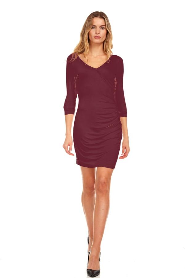 Cold Shoulder V-Neck Midi Dress - Wine - Front