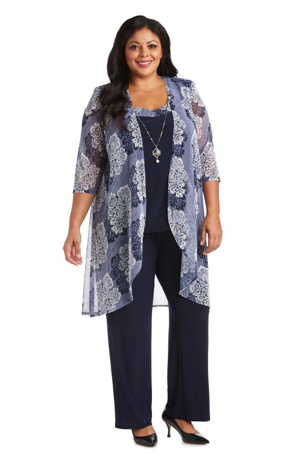 Three Piece Puff Print Power Mesh Duster Pant Set - Plus - Navy / White - Front