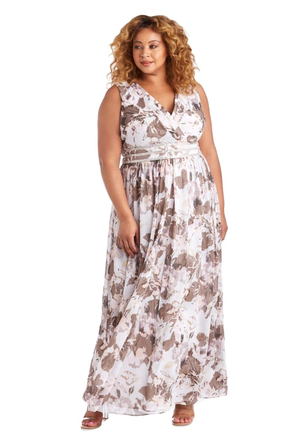 Rhinestone Detail Waist Floral Print Dress - Plus - Ivory / Mocha - Front