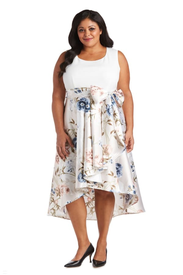 Fit and Flare Dress with Hi-Low Skirt - Plus - Champagne / Ivory - Front