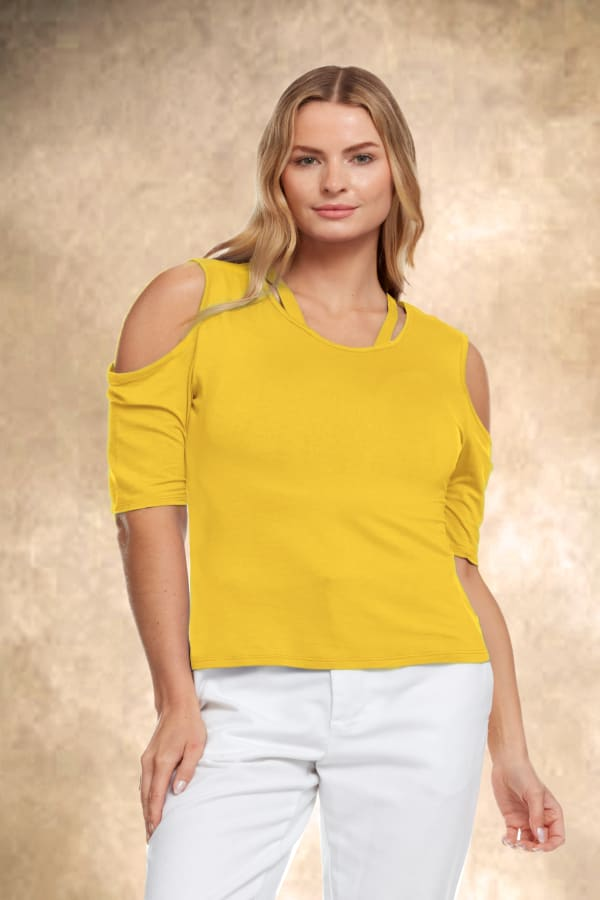 Cold Shoulder Strappy Tee - Plus - Yellow - Front