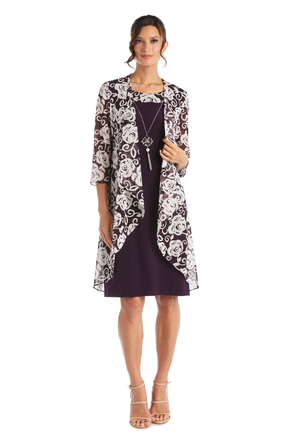 Puff Print Swing Jacket Dress - Plum - Front