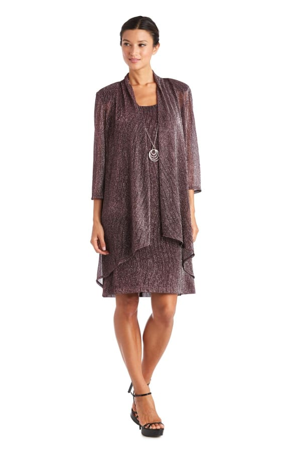 Metallic Knit Jacket Dress with Detachable Necklace - Wine - Front