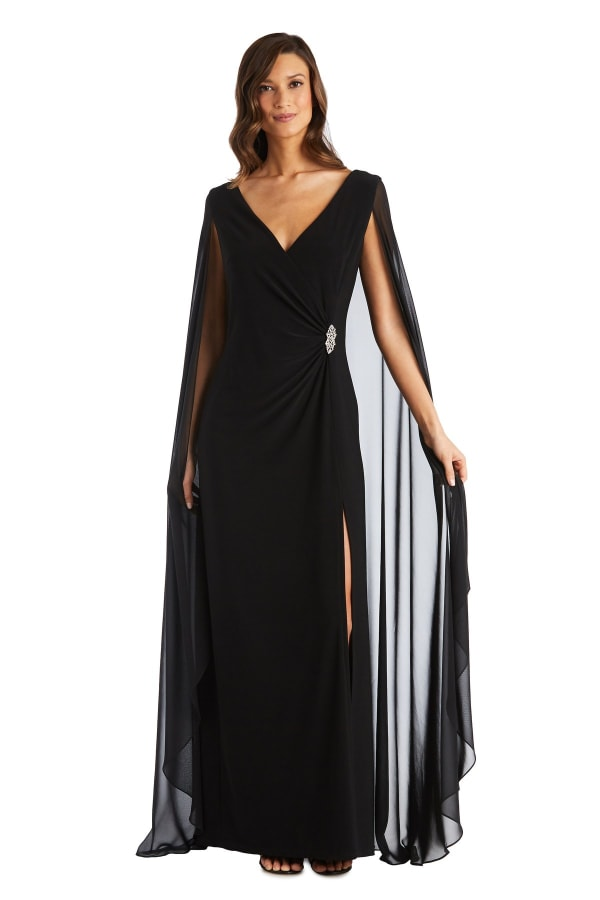 Chiffon Duster Cape Surplice Wrap Dress - Black - Front