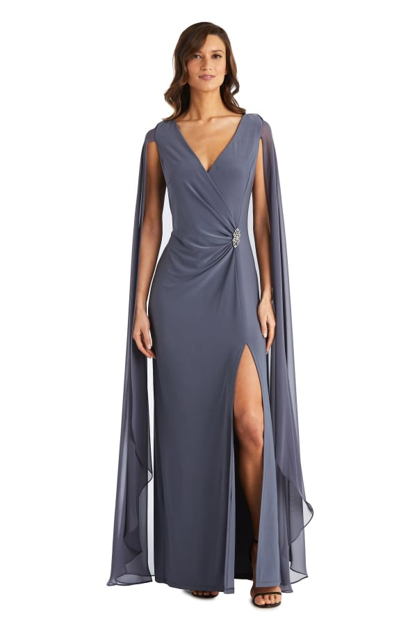 Chiffon Duster Cape Surplice Wrap Dress
