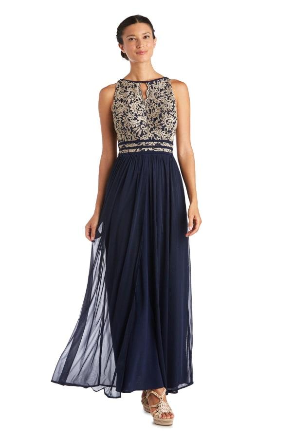 Long Glitter Lace Bodice Keyhole Halter Dress
