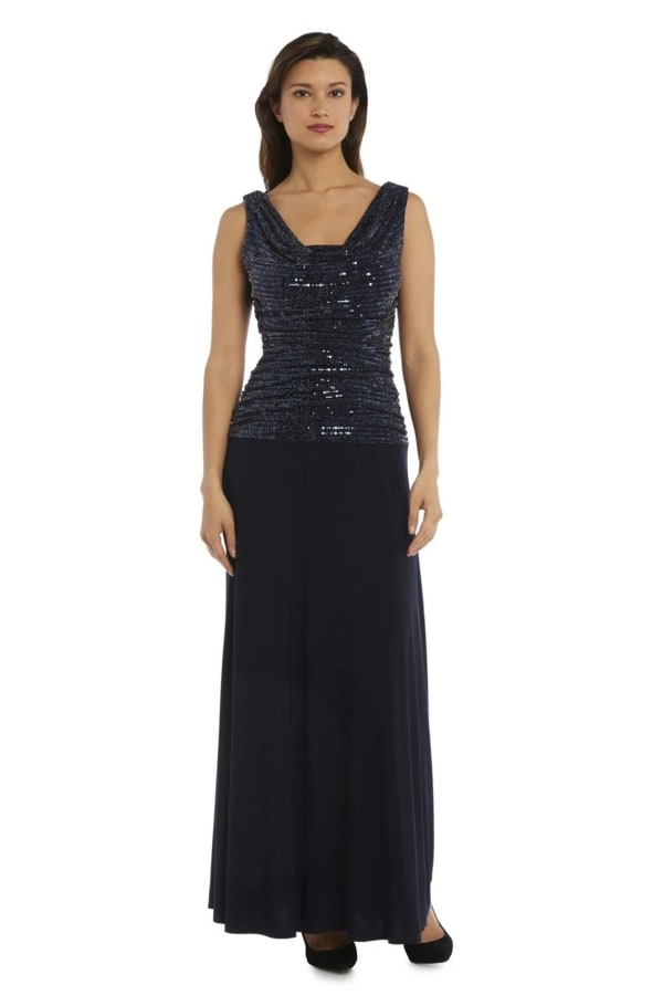 Sleeveless Maxi Gown with Sequined top and Draped Cowl Neck