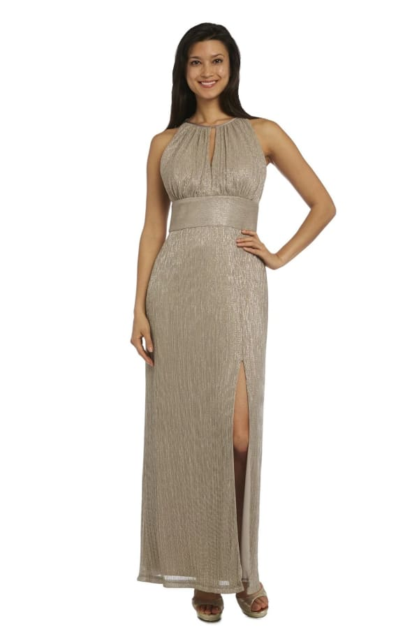 Metallic Halterneck Gown with Thigh Split - Gold - Front