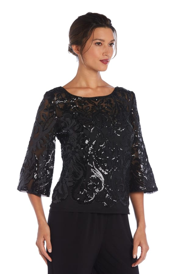 Bell Sleeves Panel Sequin Top - Black - Front