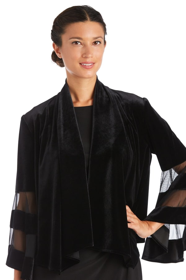 Waterfall Jacket with Sheer Band Butterfly Sleeves - Black - Front