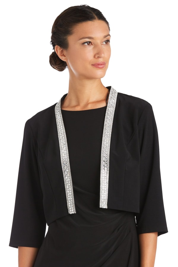 Neck Trim Detail Open Shrug - Black - Front