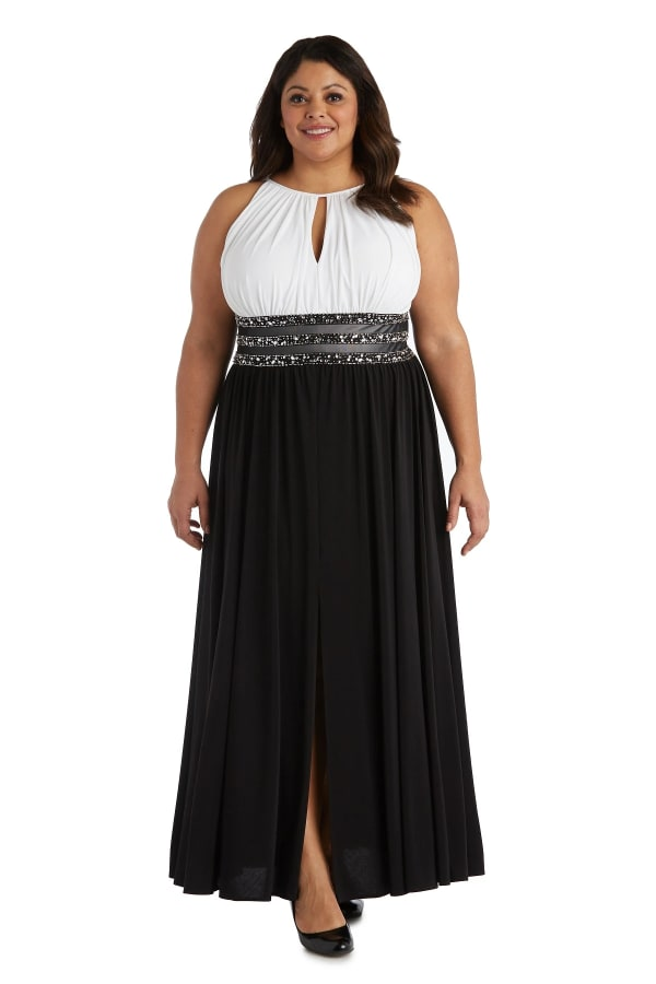 Long Beaded Waist Maxi Gown - Plus - Ivory / Black - Front